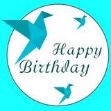 Lycklig födelsedag och origami arkivfoton