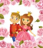 Lycklig födelsedag, prinsessa och prins, hälsningkort stock illustrationer