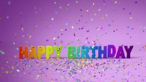 Lycklig födelsedag, rolig animering 3d Full HD royaltyfri illustrationer