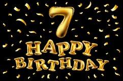 Lycklig födelsedag, sju år ballong För garneringparti berömmar Realistisk stil som isoleras på svart bakgrund 3d Materiel - Royaltyfria Foton