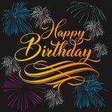 Lycklig födelsedag som handlettering med bakgrund stock illustrationer