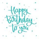 lycklig födelsedag till dig calligraphy Royaltyfri Bild