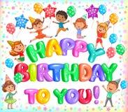 Lycklig födelsedag till dig färgrika letteers och gulliga ungar Arkivbilder