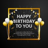 Lycklig födelsedag till dig hälsningkort Elegant yrkesmässig banermall royaltyfri illustrationer