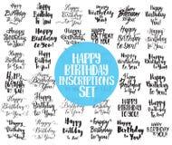 Lycklig födelsedag till dig inskriftuppsättning Hand dragen bokstäver Kalligrafi, vektor illustrationer