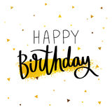 lycklig födelsedag Trendig kalligrafi Arkivbild