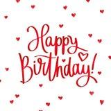 lycklig födelsedag Trendig kalligrafi Royaltyfri Bild