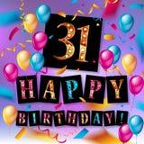 Lycklig födelsedag trettio ett 31 år Royaltyfri Fotografi