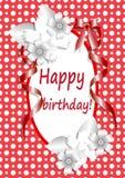 Lycklig-födelsedag - typografi-vektor-designon-röd-bakgrund royaltyfri illustrationer