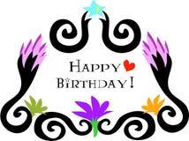 lycklig födelsedagblommaram stock illustrationer