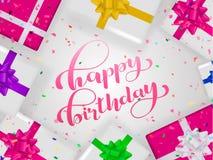 Lycklig födelsedagbokstäver lyckönsknings- citationstecken för baner eller vykort också vektor för coreldrawillustration royaltyfri illustrationer