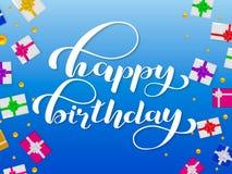 Lycklig födelsedagbokstäver Lyckönsknings- citationstecken för baner också vektor för coreldrawillustration royaltyfri illustrationer