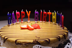 lycklig födelsedagcake Royaltyfri Bild