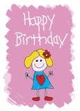 lycklig födelsedagflicka royaltyfri illustrationer