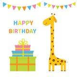 lycklig födelsedagkorthälsning Giraff med fläcken lång hals Gulligt tecknad filmtecken Färgrika pappersflaggor Den Giftbox pyrami stock illustrationer