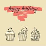 lycklig födelsedagkortmuffin Royaltyfria Bilder