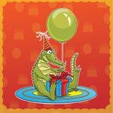 lycklig födelsedagkrokodil Royaltyfri Bild