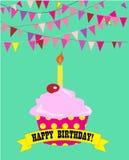 lycklig födelsedagmuffin Arkivbilder