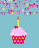 lycklig födelsedagmuffin Vektor för format EPS10 Royaltyfria Foton