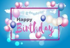 Lycklig födelsedagvykort Med ballonger på en bakgrund för blå himmel Royaltyfri Fotografi