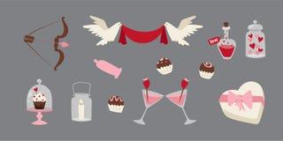Lycklig förälskelse för designen för valentindaglägenheten som gifta sig objekt och hjärtaförälskelse, fabulerar berömvektorillus stock illustrationer