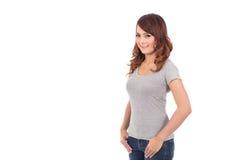 Lycklig för blankogrå färger för tonårs- flicka t-skjorta arkivfoton