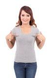 Lycklig för blankogrå färger för tonårs- flicka t-skjorta arkivfoto