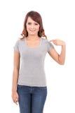 Lycklig för blankogrå färger för tonårs- flicka t-skjorta arkivbild