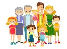Lycklig fördjupad caucasian le familj royaltyfri illustrationer