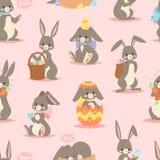 Lycklig förtjusande hare för konst för ferie för kanintecknad filmtecken gladlynt däggdjurs- med korgen och gullig easter kanin m stock illustrationer