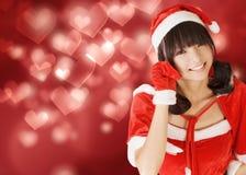 Lycklig förtjusande julflicka arkivbilder