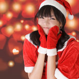 Lycklig förtjusande julflicka royaltyfri foto