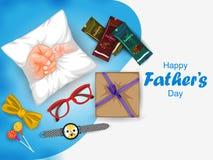 Lycklig faders bakgrund för hälsningar för beröm för ferie för dag vektor illustrationer