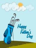 Lycklig faders beröm för dag med golfklubben royaltyfri illustrationer