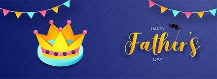 Lycklig faders design för titelrad eller för baner för beröm för dag med illustrationen av kronan och den bunting flaggan vektor illustrationer