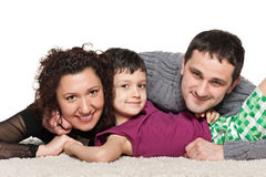 Lycklig familj av tre Arkivbild