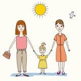Lycklig familj av två kvinnor och barnet Arkivbild