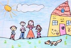Lycklig familj - crayonteckning Fotografering för Bildbyråer