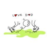 Lycklig familj för handteckningstecknad film Royaltyfri Foto