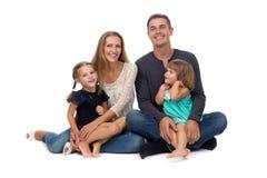 lycklig familj Fader, moder och barn Arkivbilder