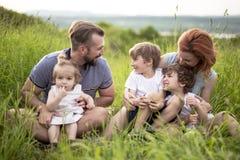 Lycklig familj i ängen royaltyfria foton