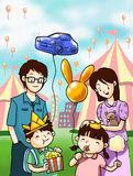 Lycklig familj i rolig festival Arkivbild