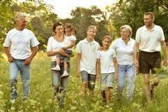 Lycklig familj i skog Arkivfoto