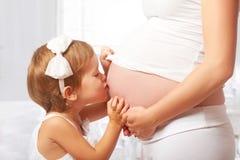 lycklig familj Kyssande buk för barn av den gravida modern Royaltyfria Bilder