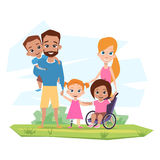 Lycklig familj med barn med handikappomfamning Royaltyfri Foto