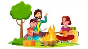 Lycklig familj med barn som sitter runt om lägereldvektorn isolerad knapphandillustration skjuta s-startkvinnan royaltyfri illustrationer