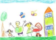 Lycklig familj med en barnvagn Royaltyfria Bilder