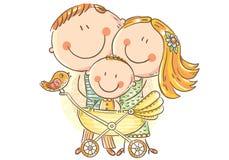Lycklig familj med en behandla som ett barn i en barnvagn vektor illustrationer
