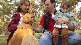 Lycklig familj med en hund och barn i en campa tur Bekymmersl?sa ton?ringar med deras fader p? en fridag fotvandra arkivfilmer
