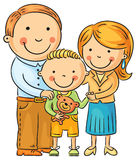 Lycklig familj med lite sonen royaltyfri illustrationer